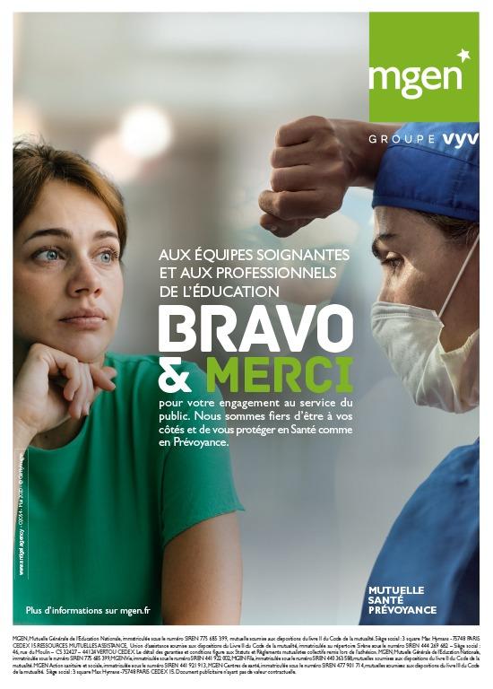 « Bravo & merci » aux soignants et aux enseignants